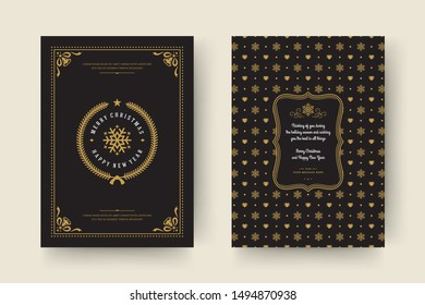 Christmas greeting card vintage typographic design, ornate decorations symbols with snowflake, winter holidays wish, ornament and frame. Vector illustration.