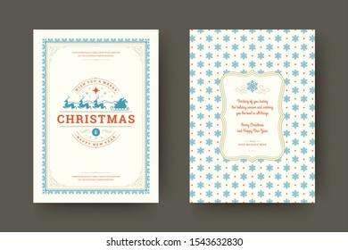 Christmas greeting card vintage typographic design, ornate decorations symbols with santa claus, winter holidays wish, ornaments and frame. Vector illustration.