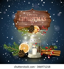 Christmas greeting card with white lantern, traditional decorations and wooden sign at night