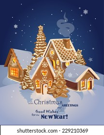 Christmas greeting card with Winter village of ginger cookies. Happy new year