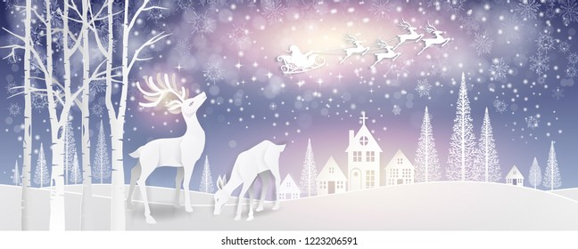 Christmas greeting card,Holiday winter landscape background with Santa Claus on the sky with deers family in forest,snowflakes, light, stars. Xmas card.-Vector Illustration