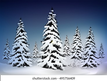 Christmas Greeting Card,Pine  Tree  Isolated on White snow.