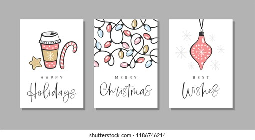 Christmas greeting cards with handwritten calligraphy and hand drawn decorative elements.