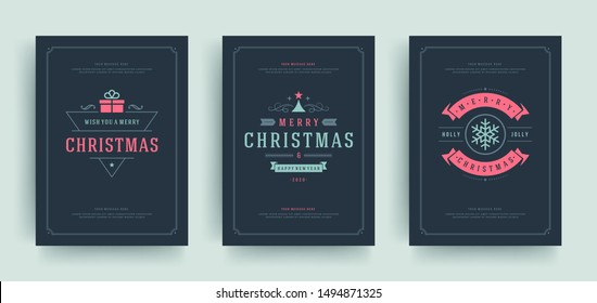 Christmas greeting cards set design template with decoration labels vector illustration. Merry christmas and holidays wish vintage typographic text.