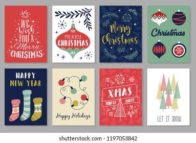 Christmas greeting cards set. Vector illustration.