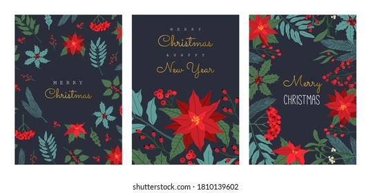 Christmas Greeting cards set, with winter plants, poinsettia, invitation for party, traditional symbol, frame. Vector illustration in flat cartoon style, isolated on dark blue background.