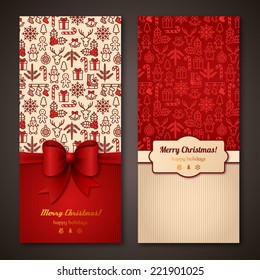 Christmas greeting cards. Vector illustration. Place for text message. Holiday brochure design for corporate invitations.