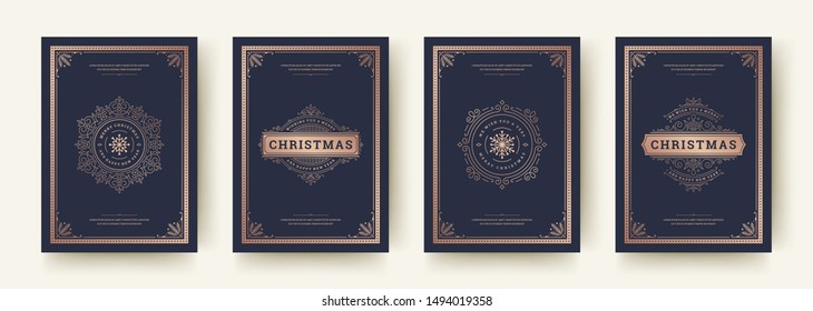 Christmas greeting cards vintage typographic design, ornate decorations symbols with winter holidays wishes, floral ornaments and flourish frames. Vector illustration.