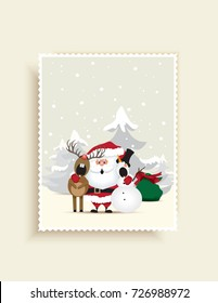 Christmas greeting card-Santa Claus, reindeer and snowman singing a Christmas carol on the north pole.Vector illustration.