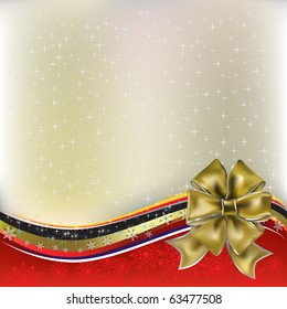 christmas greeting gold bow with ribbons on red