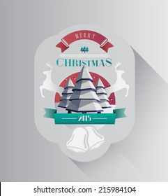 Christmas greeting message with illustrations on grey background