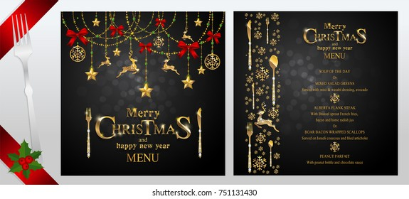 christmas greeting and new years dinner menu card templates with gold patterned and crystals on background
