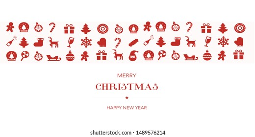 christmas greeting ornament icons element banner red isolated background.