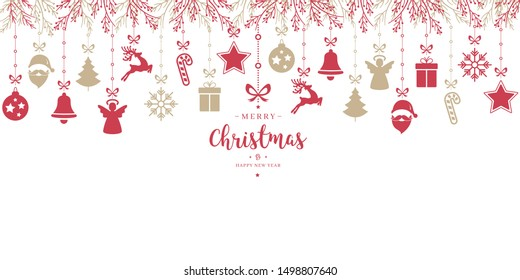 Christmas greeting ornaments elements hanging isolated white background card
