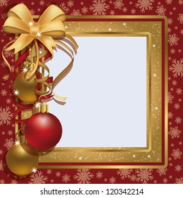 Christmas greeting photo frame scrapbooking , vector illustration