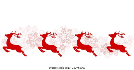 Christmas greeting poster with red reindeer and snowflakes, stock vector illustration