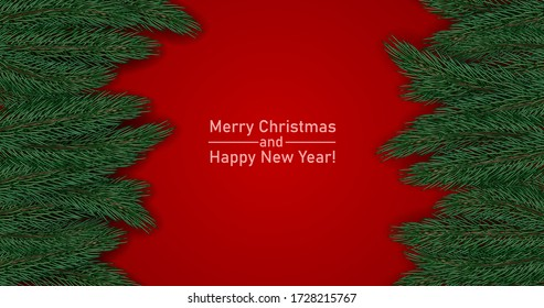Christmas greeting poster with spruce branches on a red background. Brochure design template, Card, Banner. Stock vector illustration.