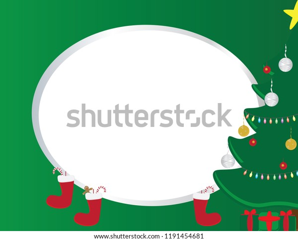 Christmas greeting template with Decorated Christmas tree, gifts and red socks