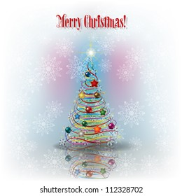 Christmas greeting with tree and snowflakes and text Merry Christmas