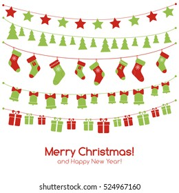 Christmas greeting vector card with festive garlands, christmas toys, stockings, gift boxes