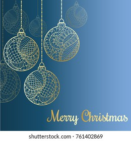 Formal christmas filigree card vector format stock vector 163127474 a christmas greeting vector card on the blue background abstract hand drawn golden shiny christmas m4hsunfo