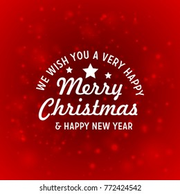 Christmas greetings card with red background white typography.