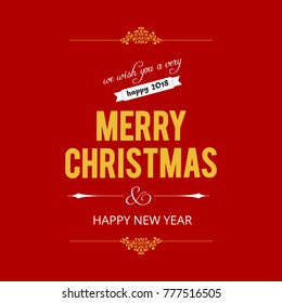 Christmas greetings card with red background and yellow typograp