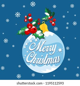 Christmas greetings card with snowflake background and Christmas ball