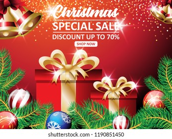 CHRISTMAS GREETINGS with gold bell and gift box design illustration