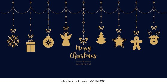 christmas greetings golden ornament elements hanging blue background