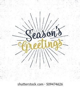 Christmas greetings lettering, holiday wish, saying and vintage label. Season's greetings calligraphy. Seasonal greeting typography design. Vector Illustration. Letters composition with sun bursts