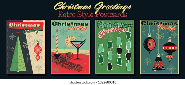 Christmas Greetings Retro Style Postcards, Merry Christmas Symbols - Tree, Decorations, Candle, Cocktail Glass