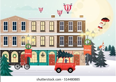 christmas greetings/ christmas scene vector/illustration