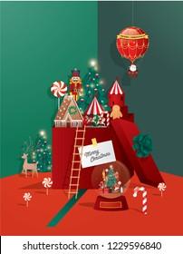 christmas greetings template vector/illustration