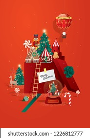 Christmas greetings/ toy land town template vector/illustration