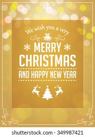 Christmas Greetings Typography on Yellow Background. Greeting Card and Poster Design.