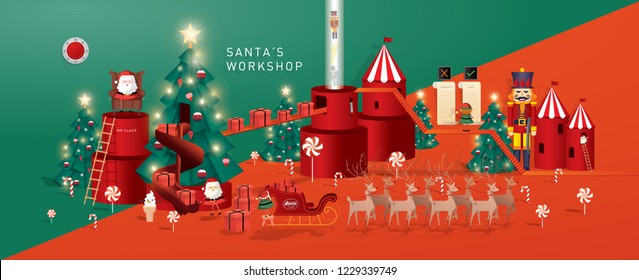 christmas greetings/santa's workshop template vector/illustration