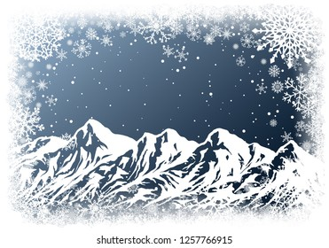 Christmas greting card with huge mountain range and white frame of snowflakes on dark blue background. New-Year winter vector illustration with copy-space.