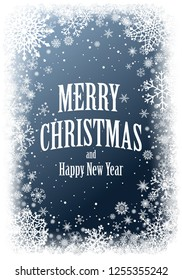 Christmas greting card with white frame of snowflakes on dark blue background. New-Year winter vector illustration with copy-space.