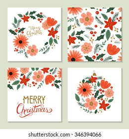 Christmas hand drawing greeting card set with floral elements. Isolated vector illustration
