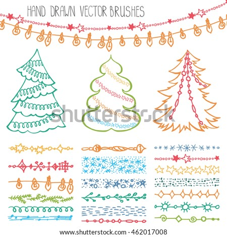 christmas hand drawn brushesline bordernew year doodle pattern texturessnowflakes