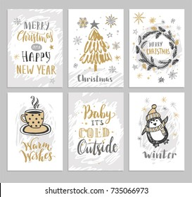 Christmas hand drawn cards with Christmas tree, penguin, snowflakes, cap and wreath. Vector illustration.