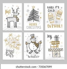 Christmas hand drawn cards with Christmas tree, snowman, bells and deer. Vector illustration.