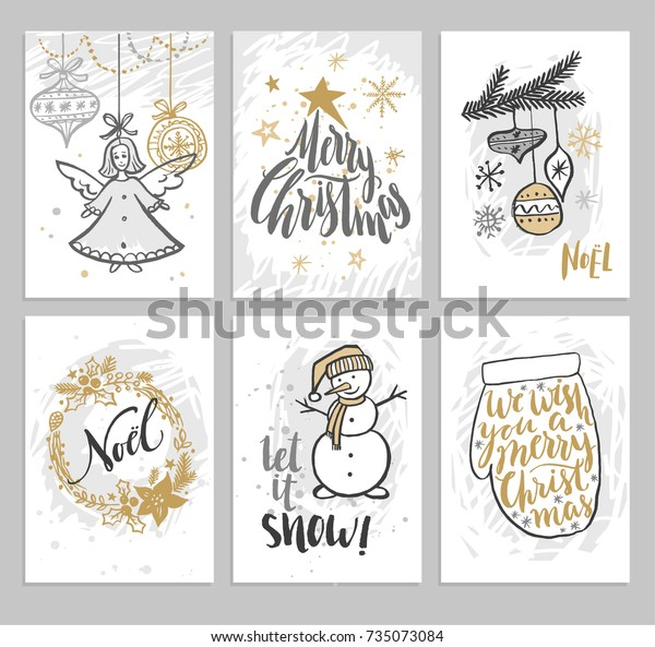 Christmas hand drawn cards with Christmas tree, snowman and wreath. Vector illustration.