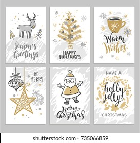 Christmas hand drawn cards with Christmas trees, deer, Santa, balls and wreath. Vector illustration.