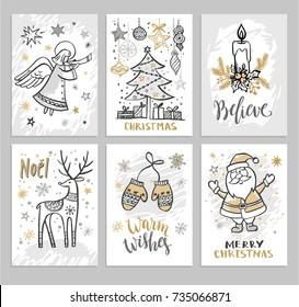 Christmas hand drawn cards with Christmas trees, Santa and deer. Vector illustration.