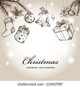 Christmas hand drawn Decorations for Xmas design.
