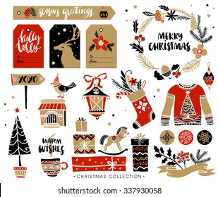 Christmas hand drawn design elements with calligraphy. Handwritten modern brush lettering. Gift tags and gift boxes, wreath, sweater and christmas stocking.