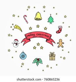 Christmas hand drawn doodle element vector illustration.