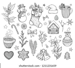 Christmas hand drawn doodle icon set. Merry Xmas & Happy New year symbol, retro sketch style. Cute emblem of sock, snowman, cookie, Santa hat, bow. Vector illustration isolatated on white backgraund